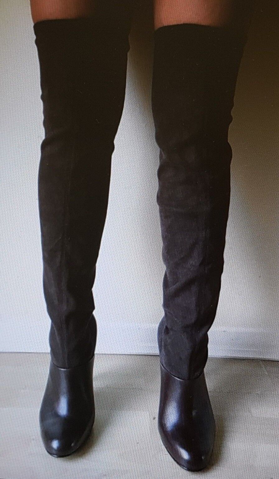 """UNITED NUDE Brown Leather Stretch Suede 5"""" Heel Over Knee Boots  Eu.Sz.37"""