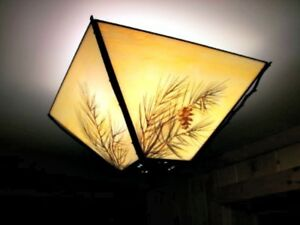 Details About Adirondack Western Rustic Ceiling Lighting Pine Bough Gl Copper Hickory