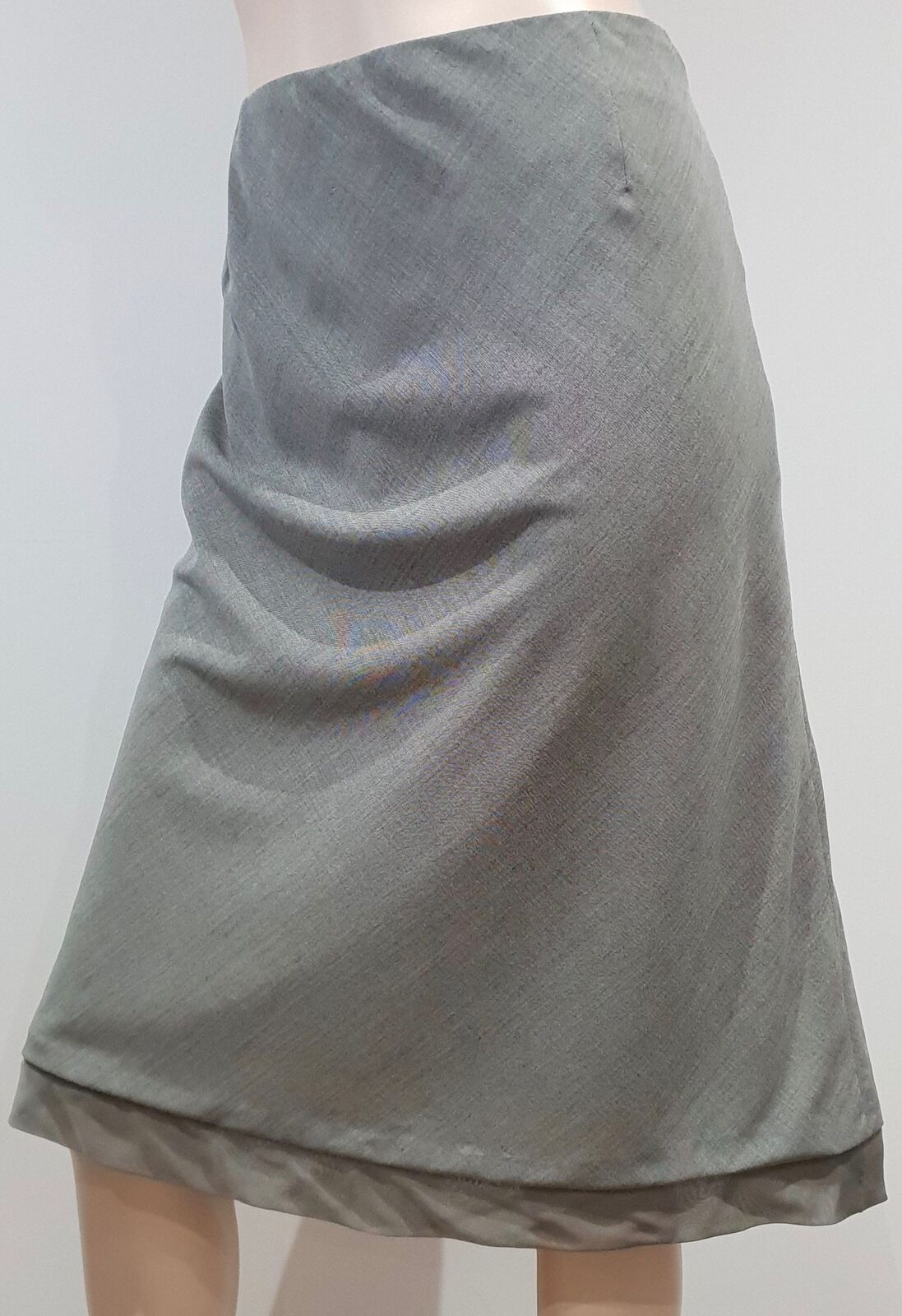 AKRIS Womens Grey Wool & Silk Trim Lined A-Line Lined Formal Skirt US12 F44 UK16