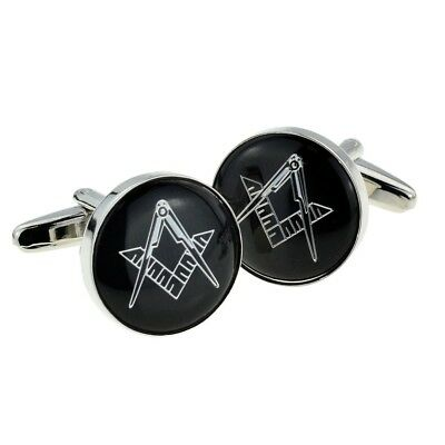 Men's Accessories 2019 New Style Silver & Black Enamelled Masonic Cufflinks No G Presented In A Box X2aj316 To Have A Long Historical Standing