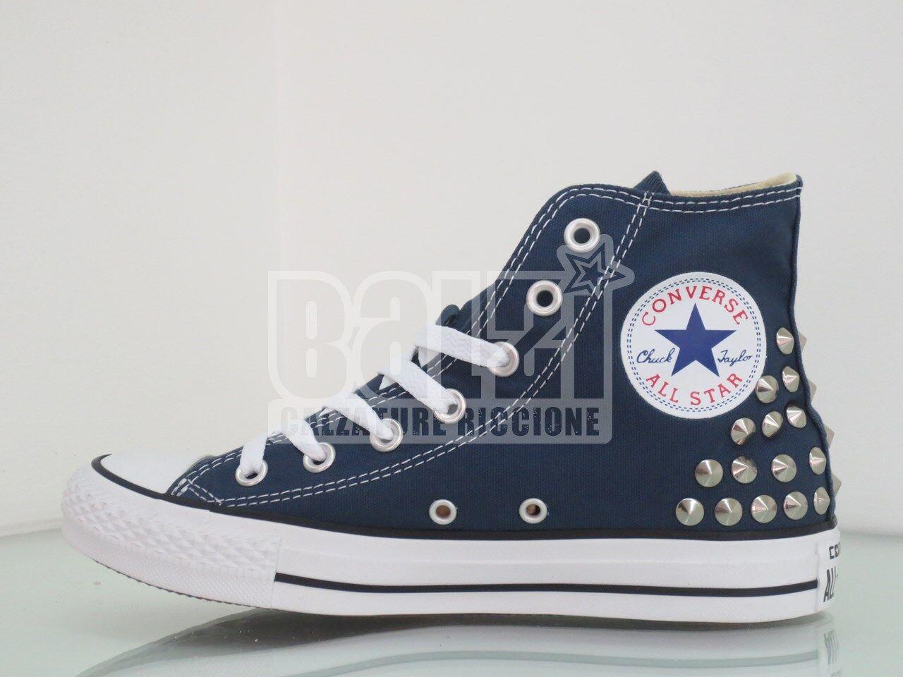 Converse all uomo star Hi borchie  scarpe donna uomo all blu navy artigianali 2bbc97