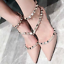 Womens-Rivets-Pointed-Toe-Stilettos-Sandals-Mid-Heels-Studded-Ankle-Strappy-D251 thumbnail 15
