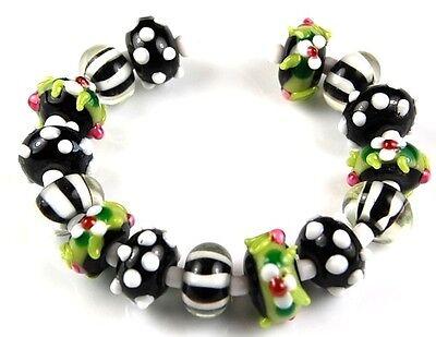 Lampwork Glass Beads Black Green White Bumpy Flower Dot Handmade Loose Rondelle