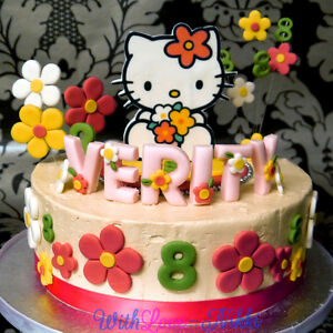 NEW Edible HELLO KITTY Birthday Cake Sugarpaste Topper Icing upto 36