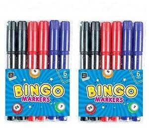 12 x Bingo Marcatori Penne Colorate Dabbers Set Nero Rosso Blu Feltro GIOCO Biglietti