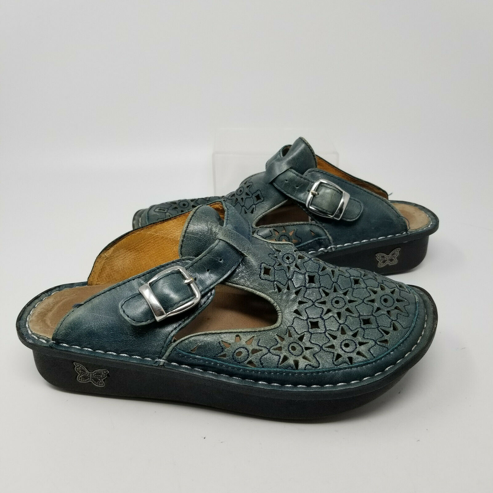 Alegria Green Leather Buckle Slip On Walking Mule Clog Shoes Women Size 7/37
