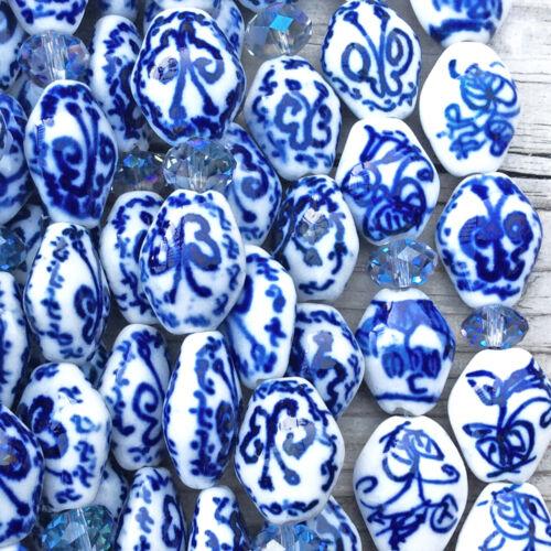 Blue White China Mixed Motifs 15x12.5mm Flat Vase Ceramic Beads Q2 Strands