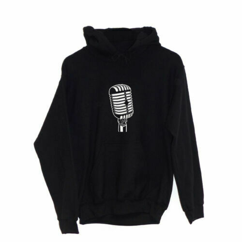 50/'s 60/'s MicrophoneHOODIE Retro Radio Music Talk Vintage