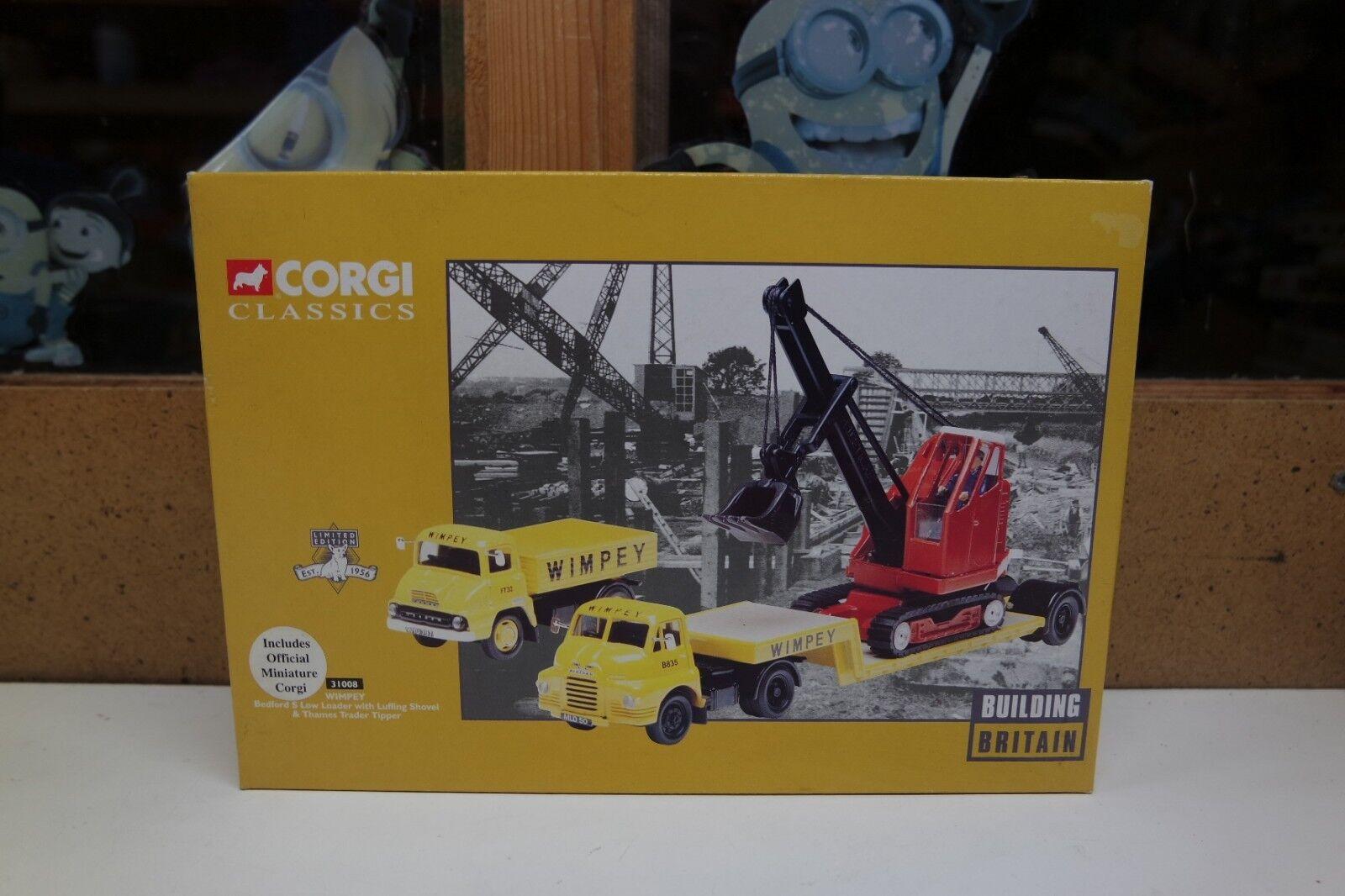 CORGI 31008 Wimpey Set, Bedford S Low Loader, Thames camion à benne & Oscillant Pelle En parfait état, dans sa boîte