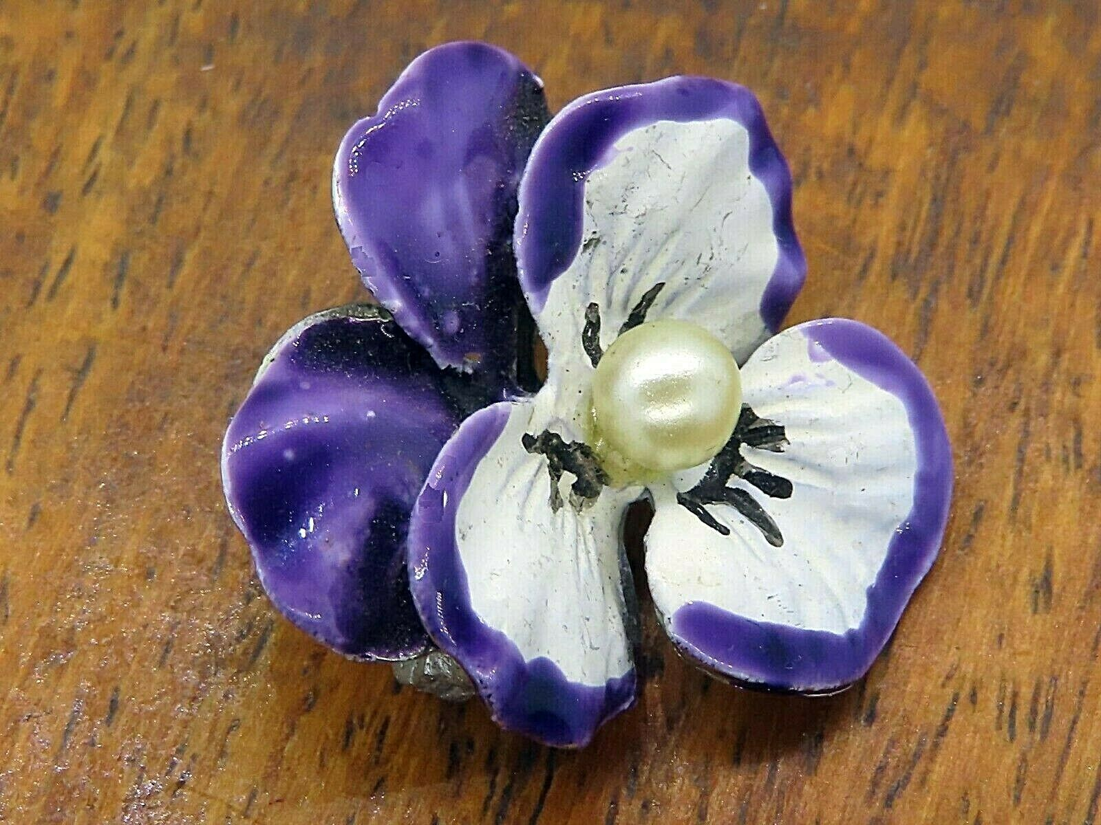 Vintage silver PANSY FLOWER PEAR BEAU BEAUCRAFT E… - image 2