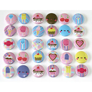Kawaii-Sweets-BADGES-x-30-Button-Pins-Cupcakes-Wholesale-Lot-25mm-One-Inch-1-034