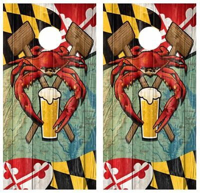 Maryland Beer Crab Flag Cornhole Board Wraps FREE APPLICATION SQUEEGEE #3278