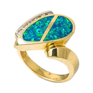 Details About 14k Yellow Gold 0 24 Ct Diamond Australian Green Opal Ring 8 4 Grams Ring Size 7