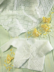 Knitting Pattern Baby Blanket 4 Ply : BABY JACKET & BLANKET KNITTING PATTERN 4 PLY 18 TO 20 INCH CHEST (276) ...