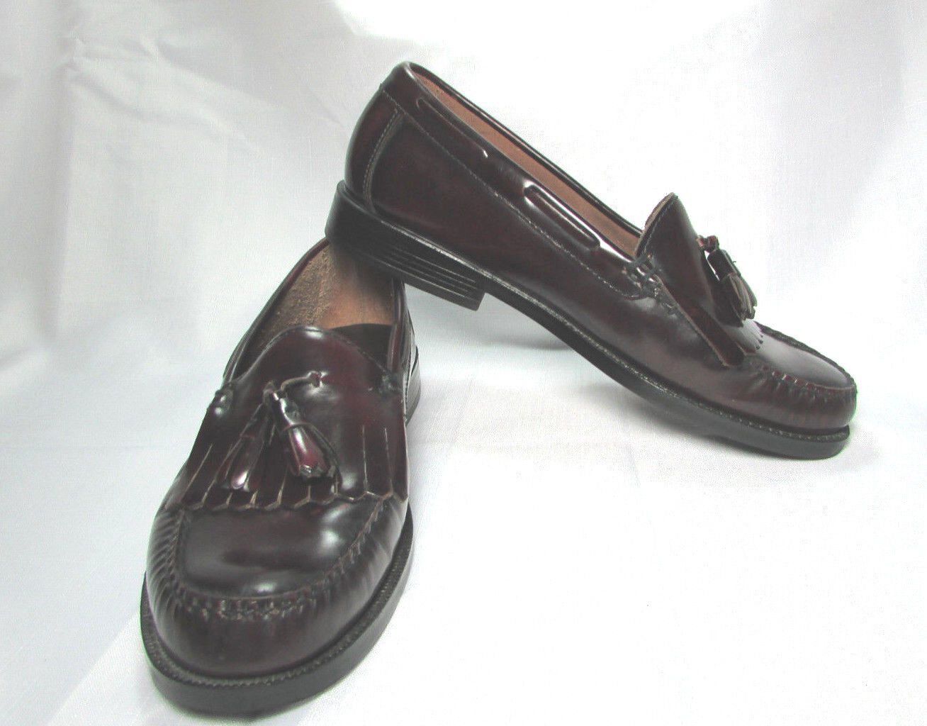 Bass Leather Weejuns Dark Burgundy Men's Tassel Loafers Size US 9.5 M