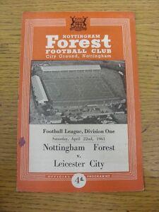 22-04-1961-Nottingham-Forest-v-Leicester-City-Light-Fold-Marks-amp-Score-Noted