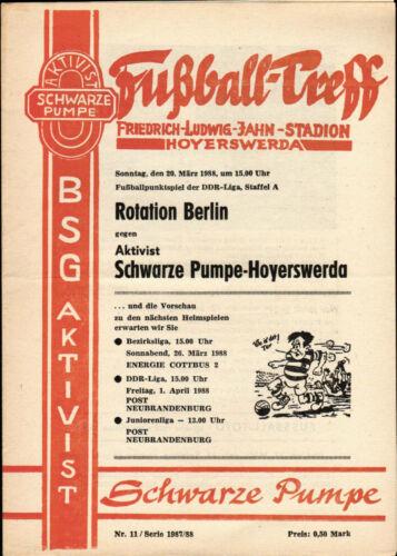 BSG Rotation Berlin 20.03.1988 DDR Liga 8788 Aktivist