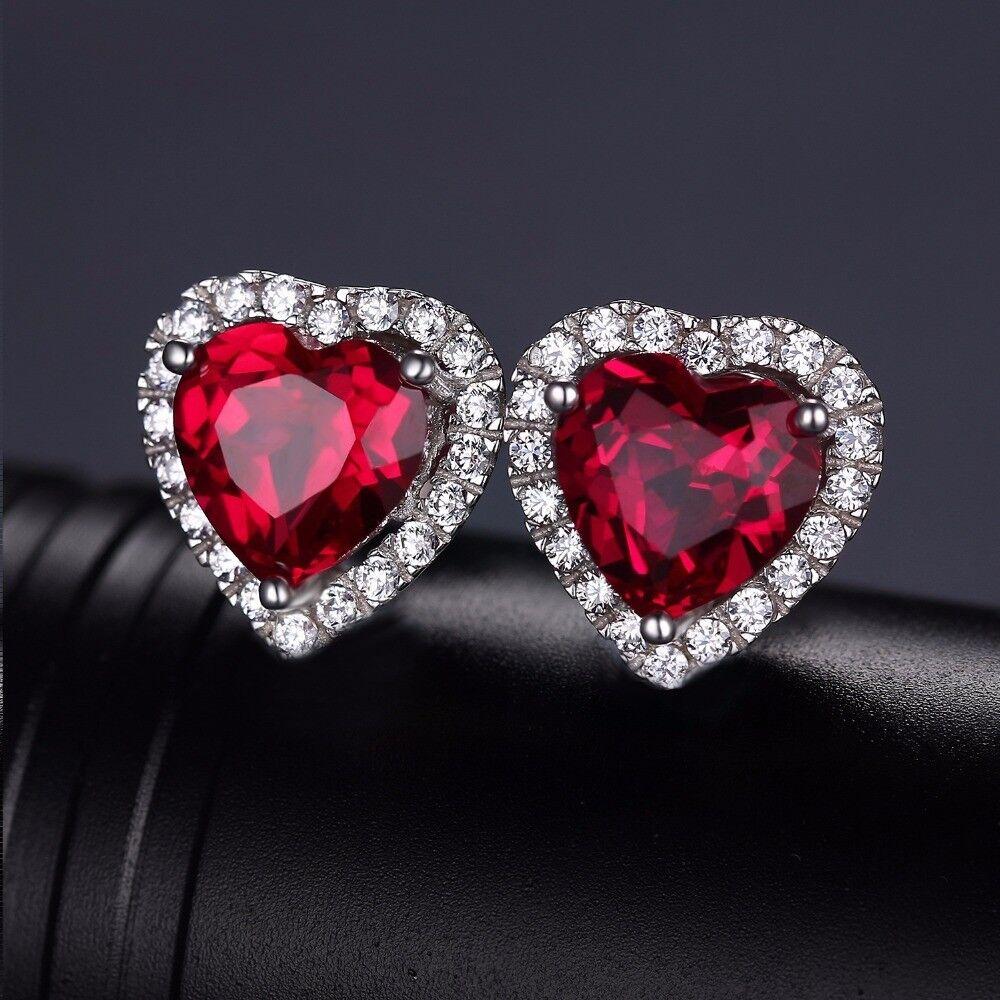 Pendientes Rubi creado corazón Zircón 3.76ct. Pura plata S925. Joyeria fina Amor