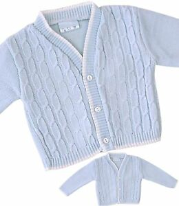 8854cb594660 BabyPrem Baby Boys Clothes Blue Knitted Traditional Cable Cardigan ...