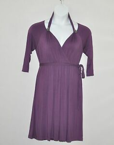 M-by-Marc-Bouwer-Cold-Shoulder-Knit-Dress-with-Knot-Detail-Size-S-Purple
