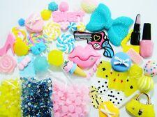 Big Blue Bow Pink 3D Lips Kawaii Cabochon Flatback Resin DIY Deco Bling Kit Set