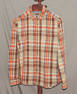 The-North-Face-size-M-Orange-Brown-Plaid-Long-Sleeve-Button-Front-Shirt