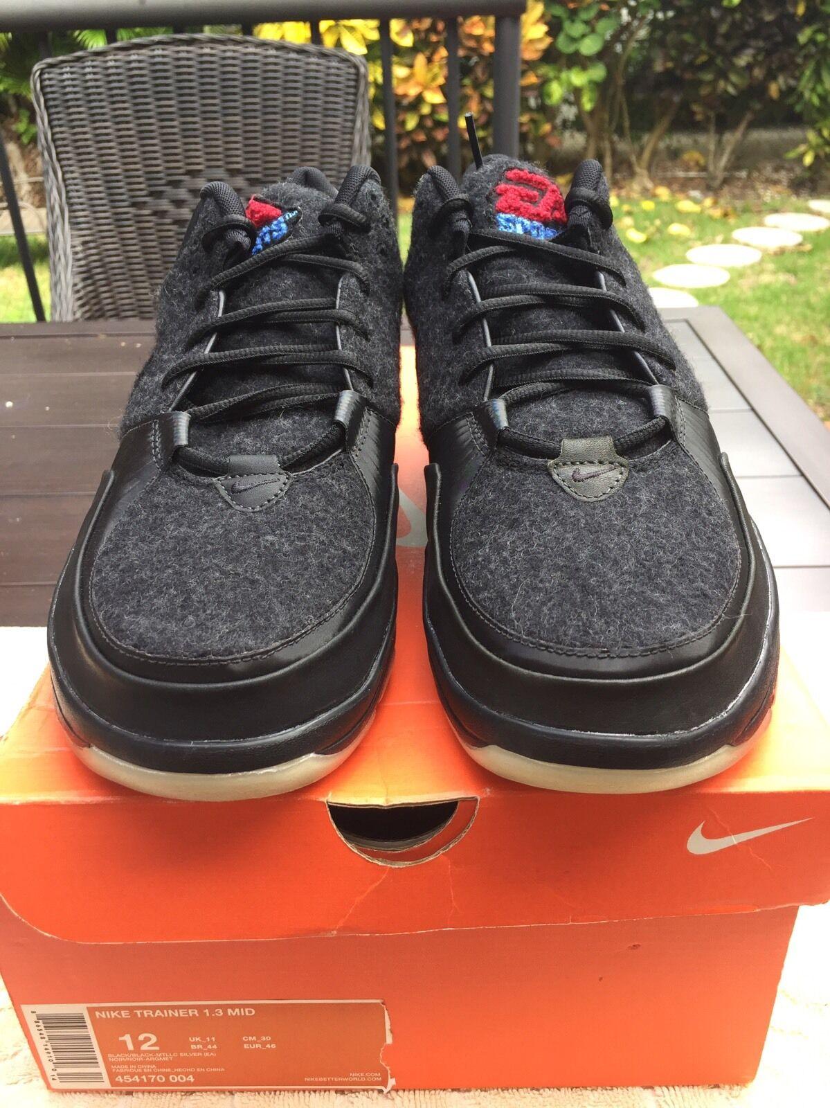 Nike Trainer 1.3 Mid EA Sports Wool Black  Letterman 454170 004 Sz 12
