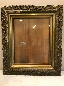 Old-Gilt-Gesso-Large-Wood-Ornate-Chipped-Shabby-Chic-Picture-Mirror-Frame