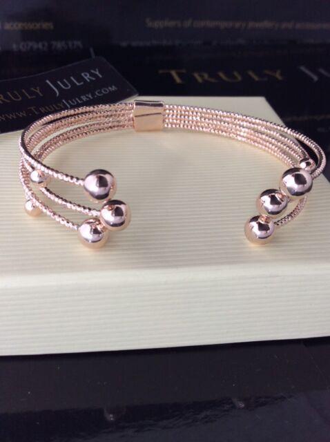 Ladies Luxurious Designer Contemporary Rose Gold Bangle Jewellery Gift UK