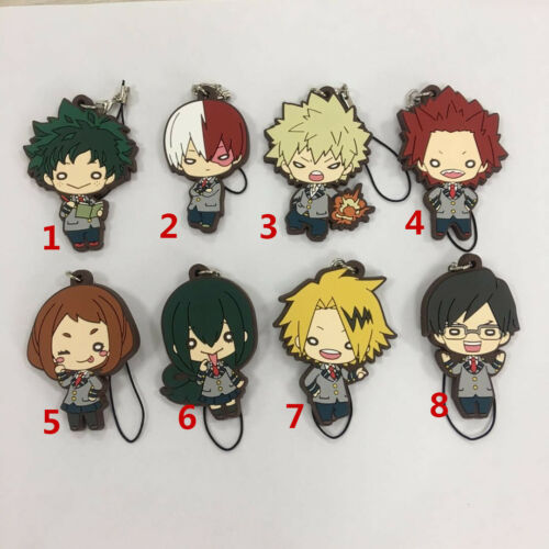 T1559 Anime Boku no Hero Academia rubber Keychain Key Ring Race straps Cosplay