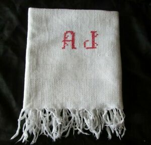 Pretty-Antique-French-Waffle-Weave-Fringed-Monogrammed-Cotton-Towel-034-AJ-034