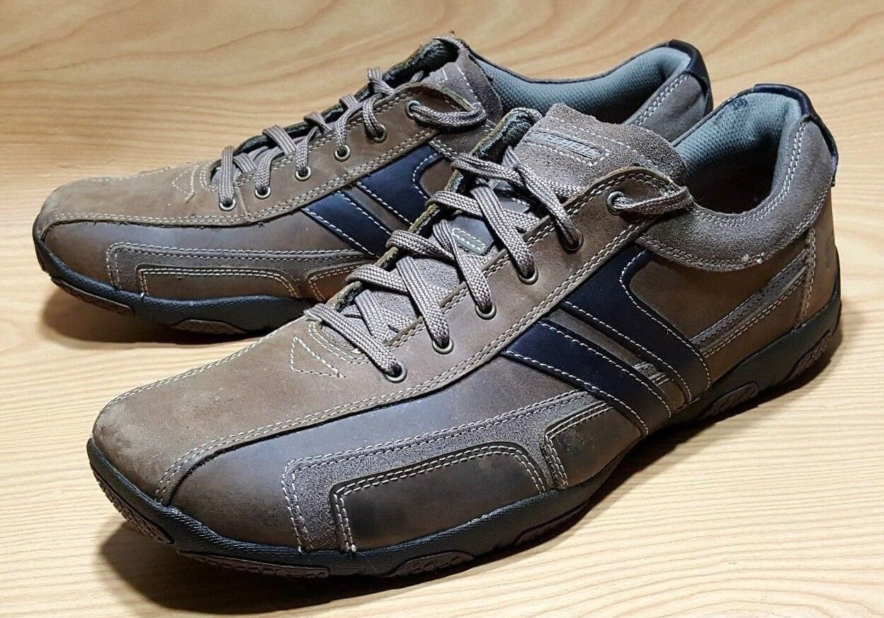 SKECHERS MENS SNEAKERS SHOES 13 BROWN LEATHER CASUAL OXFORDS SHOES