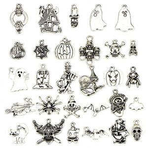 50PCS-Bulk-Lots-Tibetan-Silver-Halloween-Pendants-Charms-DIY-Jewelry-Findings-US