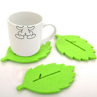 3PCS Cute Leaf-Shaped Tea Cup Coaster Heat Insulation Felt Mat  Home Table Decor
