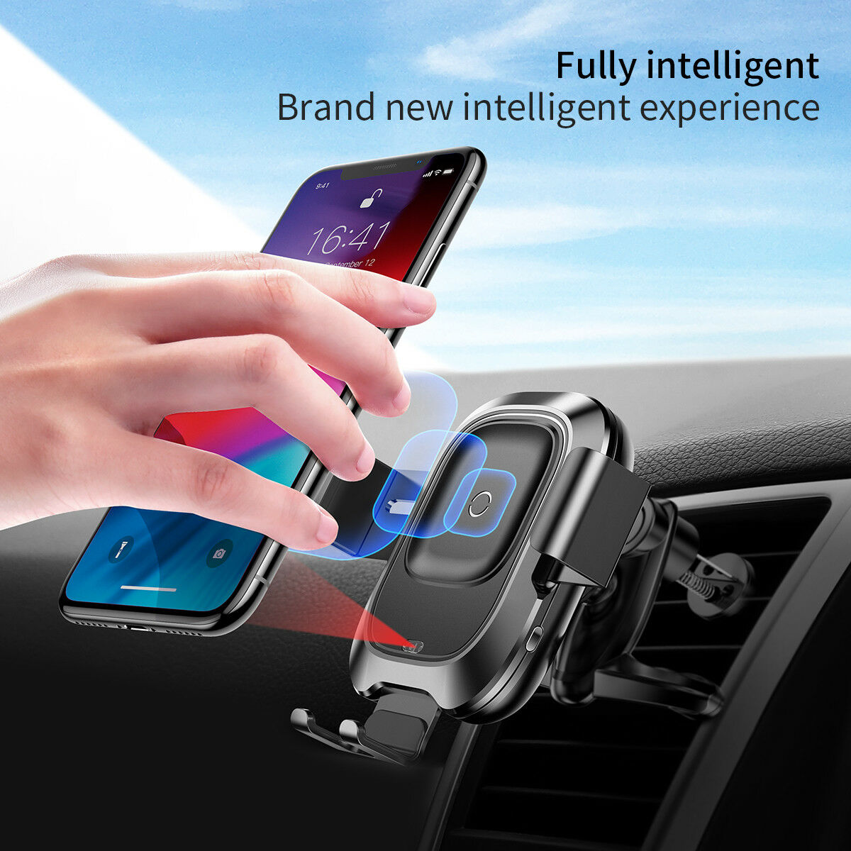 BASEUS Fast Qi Smart Wireless Charger Car Mount Holder for iPhone 11 XS Max X 8