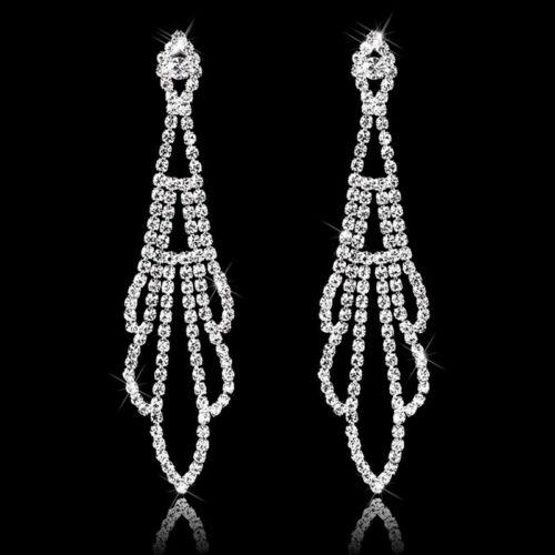Bridal Silver Crystal Rhinestone Diamante Leaf Dangle Long Earrings Wedding Prom