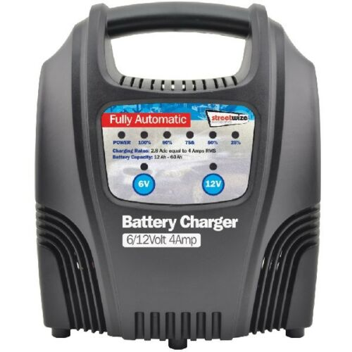 Streetwize SWBCLED4 4 Amp LED Fully Automatic Plastic Cased Battery Charger