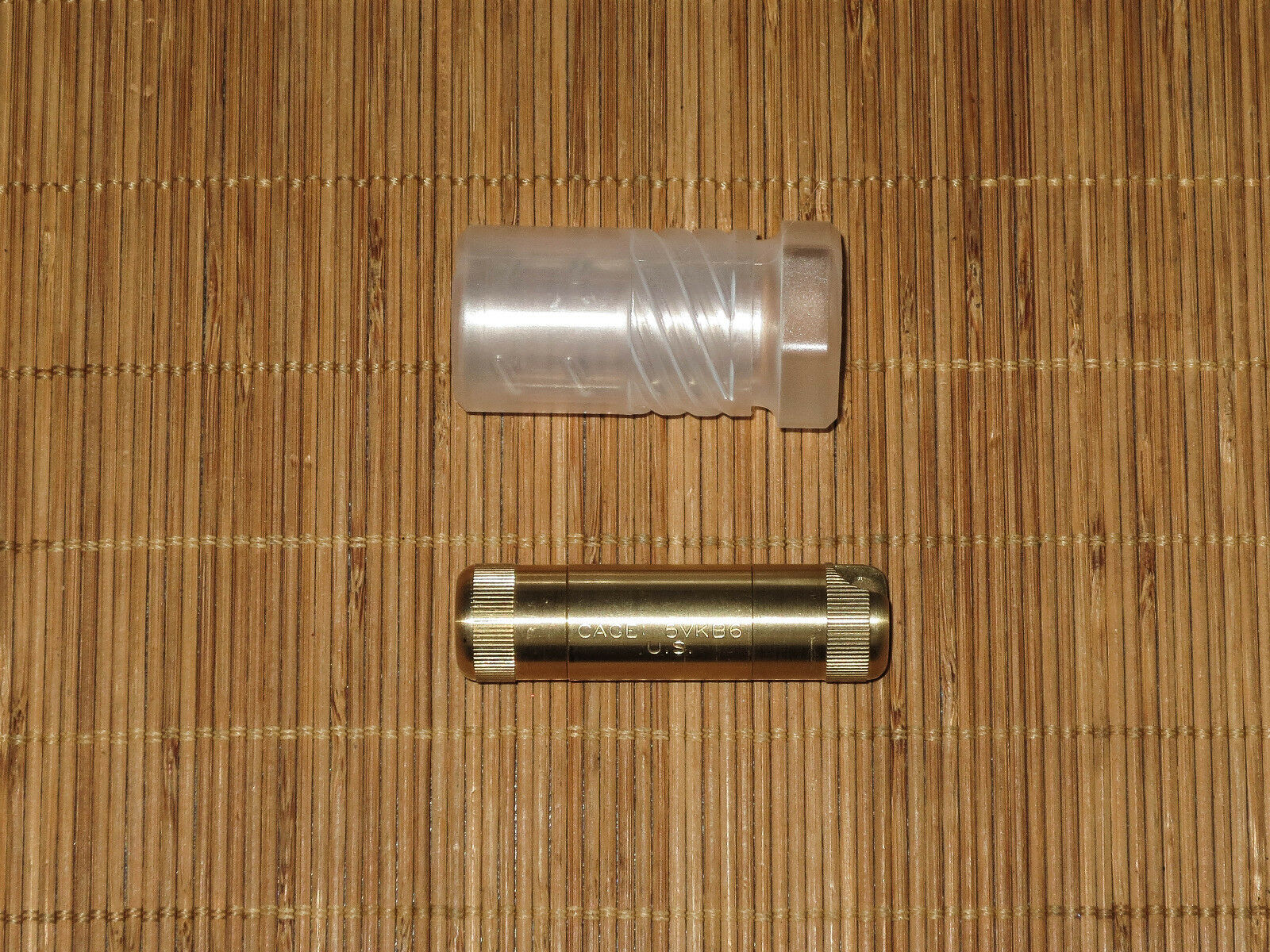 Brass A B cache dual compartment capsule waterproof -GOVT OVERRUN - TINY  NEW