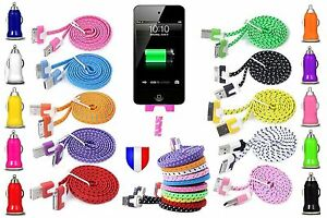 CHARGEUR-CABLE-USB-pour-iPhone-4-4S-3G-iPad-iPod-et-ou-Voiture-Renforce-NYLON
