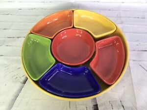 Pottery Barn Outlet Colorful Serve Tray Relish Chip Dip Serving Platter 7pc Set