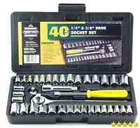 "Standard SAE & Metric 40 Piece Socket Set 1/4'' & 3/8"" Drive Ratchet Wrench Set"
