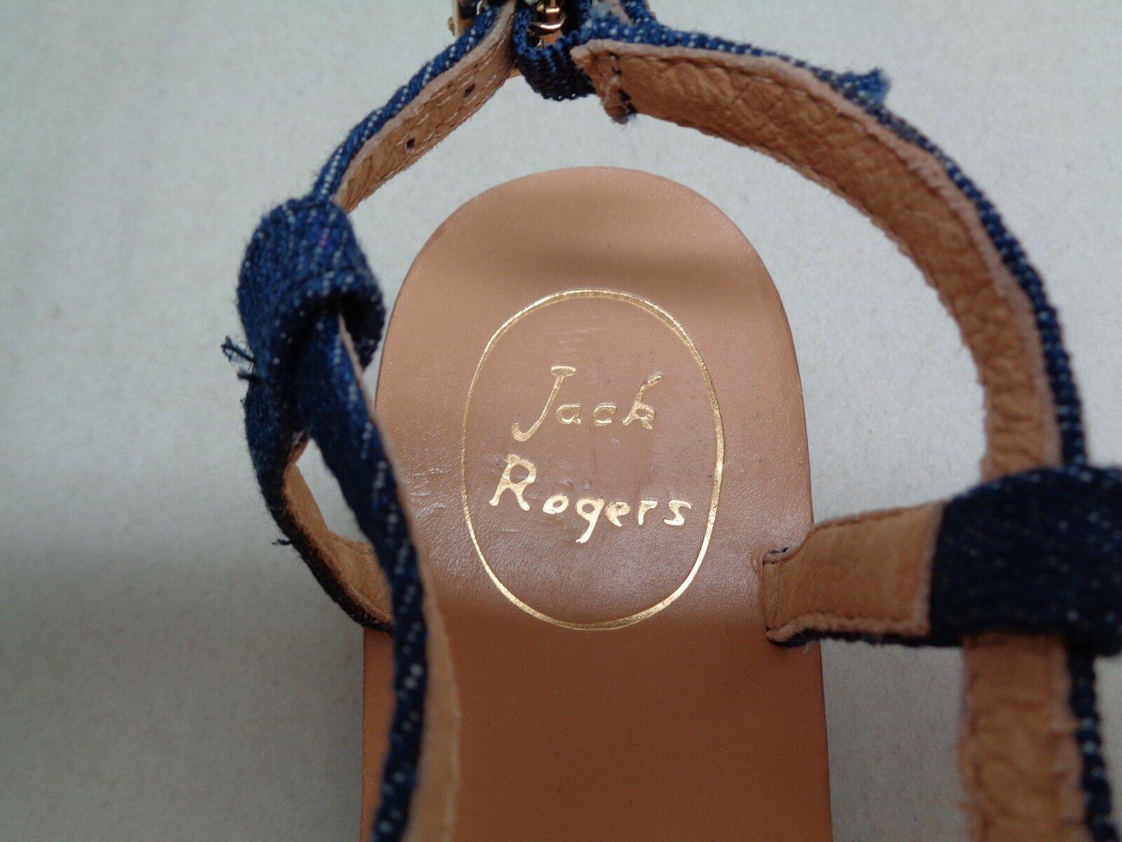 Jack Rogers Größe 8.5 ELISE Denim Gold New Heels Ankle Strap Sandales New Gold Damenschuhe Schuhes 7c6ba3