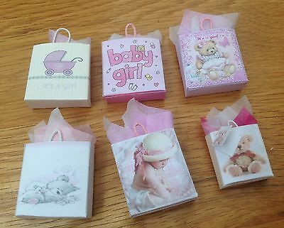 Dolls House Miniatures   Set of new baby girl gift bags