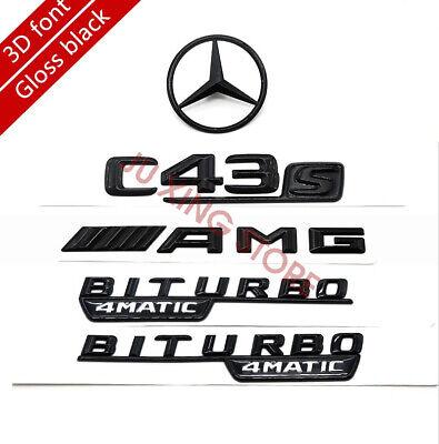 Mercedes-Benz C Class W205 4DR GLOSS BLACK Rear Badge Set C63S//AMG//STAR//BITURBO