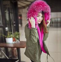 Womens Luxury Faux Mink Fur Hooded Peacoat Short Thick Coat Winter Jacket Green