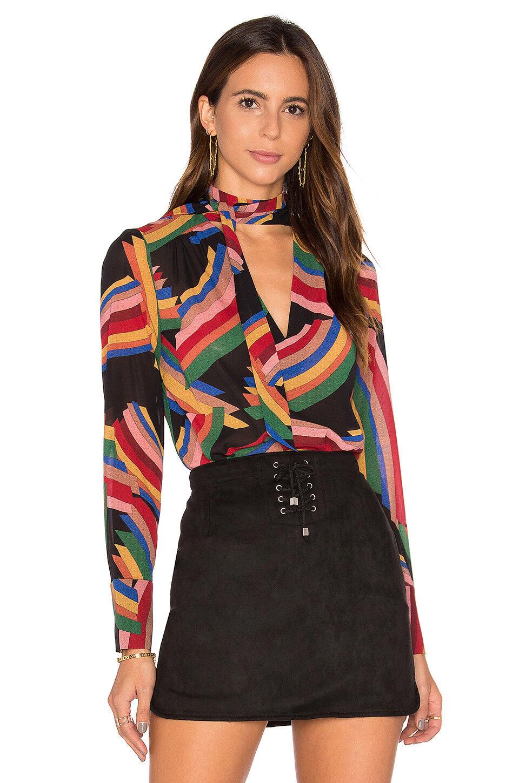 ALICE + OLIVIA Aisha mod tie neck blouse   top - small s