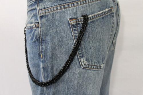 Men Women Black Chunky Metal Thick Wallet Chain Link KeyChain Biker Jeans Rocker