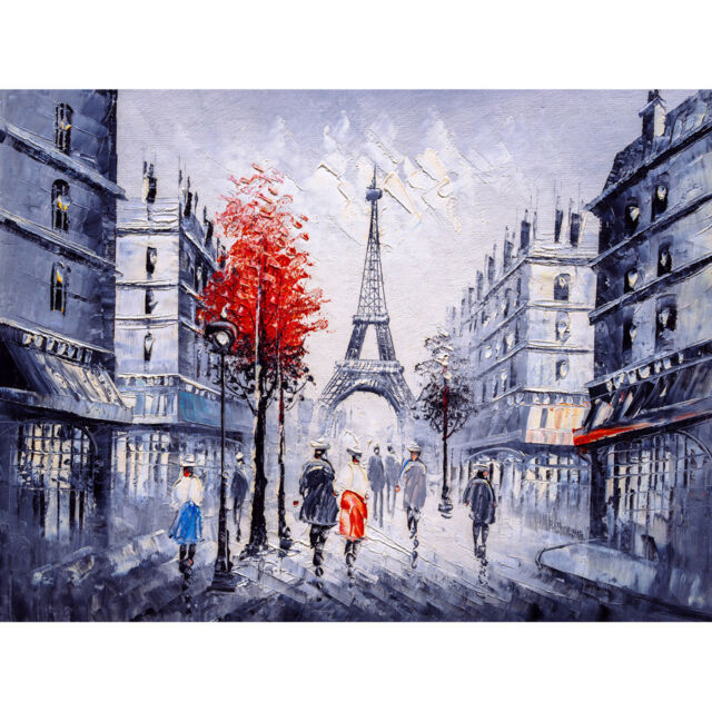 Eiffel Tower In Paris Red Umbrella Large Wall Art Print Canvas Premium Poster