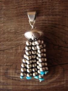Navajo-Indian-Sterling-Silver-Turquoise-Beaded-Tassel-Pendant-by-Jan-Mariano