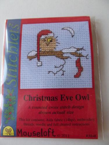 MOUSELOFT STITCHLETS CROSS STITCH KIT ~ CHRISTMAS EVE OWL ~ NEW